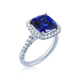 Diamond Halo Ring with a Blue Sapphire
