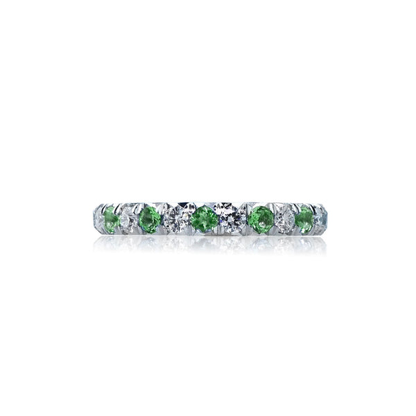 Green Tourmaline Diamond Eternity Wedding Band