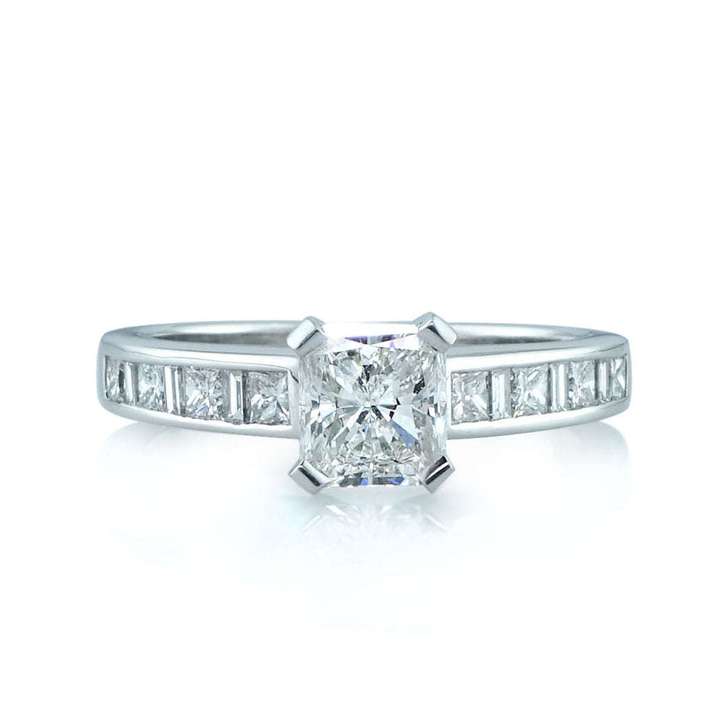 Princess Cut Baguette Channel-Set Diamond Engagement Ring