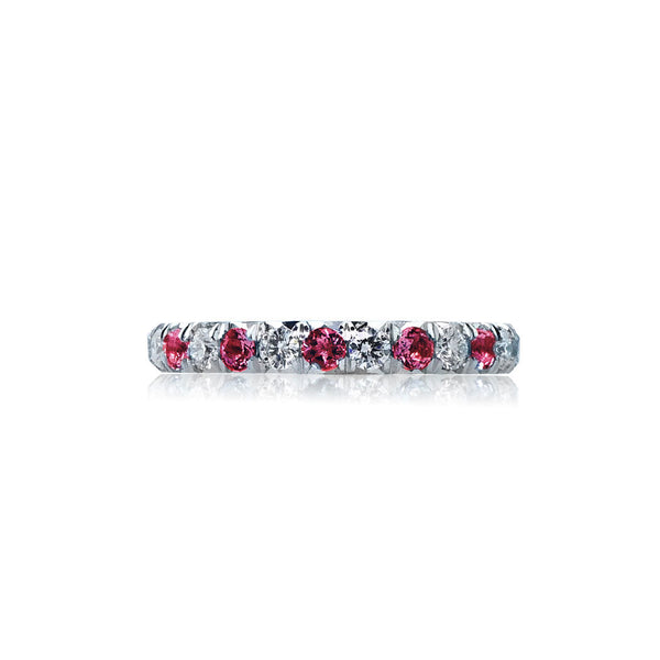 Ruby Diamond Eternity Wedding Band