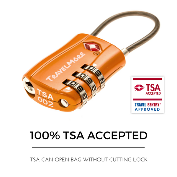 4 Pack Luggage Lock - 4 Orange TSA Travel Locks