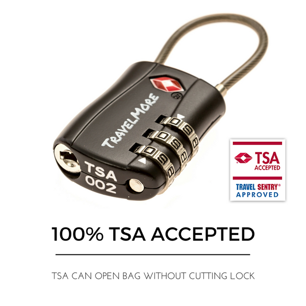 2 Pack TSA Travel Cable Luggage Lock - 2 Black Locks