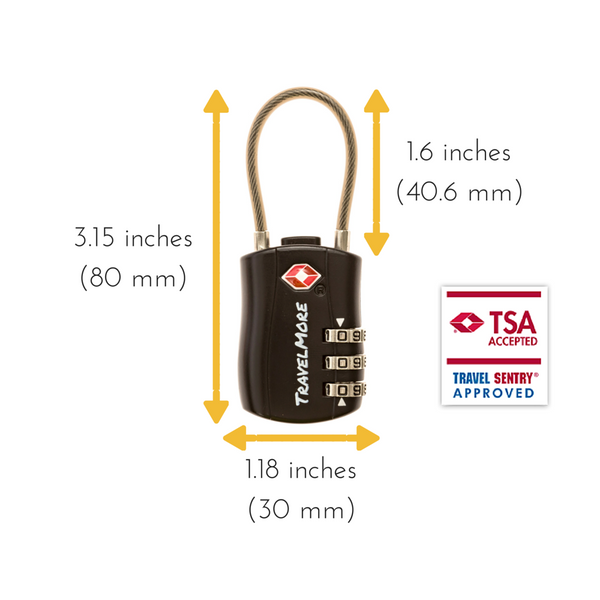 6 Pack Cable Luggage Lock - Black TSA Certified Travel Locks