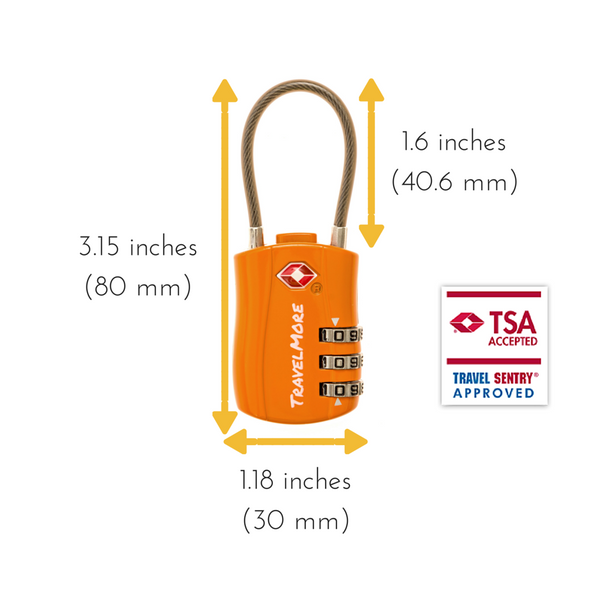 3 Pack TSA Travel Cable Luggage Lock - 3 Orange Locks