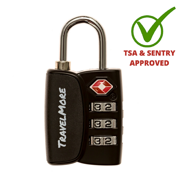 3 Pack TSA Luggage Lock With Search Alert - 3 Black Travel Locks