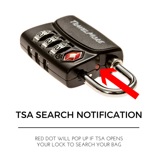 5 Pack TSA Luggage Lock With Search Alert - 5 Black Travel Locks