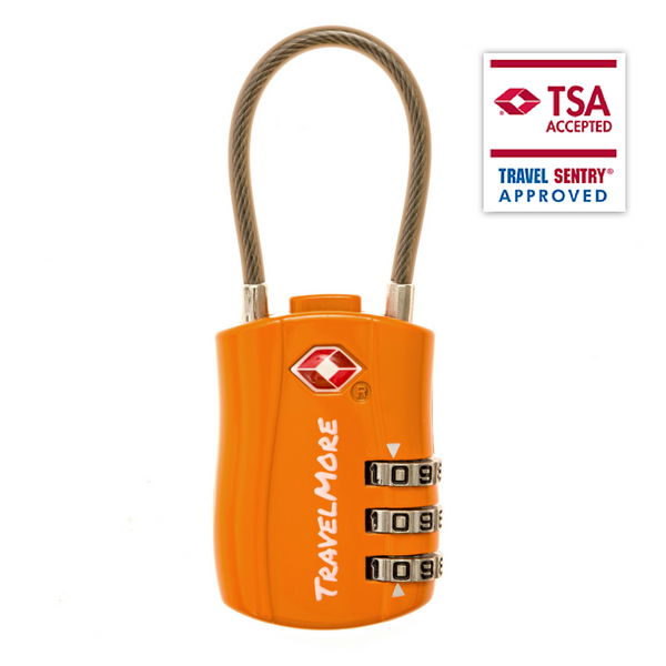 TSA Certified Cable Luggage Lock For Travel - Orange Travel Locks