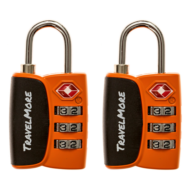 2 Pack TSA Luggage Lock With Search Indicator - 2 Orange Travel Locks