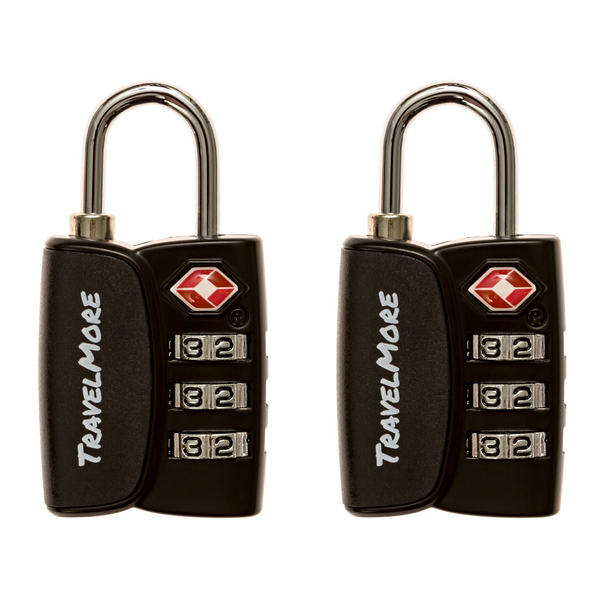 2 Pack TSA Approved Luggage Lock With Search Indicator - 2 Black Travel Locks