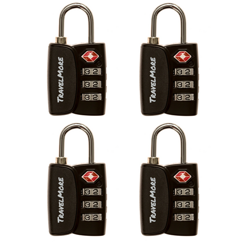 4 Pack TSA Travel Luggage Lock With Search Alert Indicator - 4 Black Locks