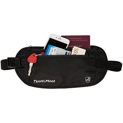 RFID Blocking Travel Wallet Belt Pouch For Money & Credit Cards