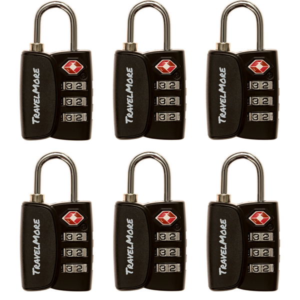 6 Pack TSA Luggage Lock With Search Alert - 6 Black Travel Locks