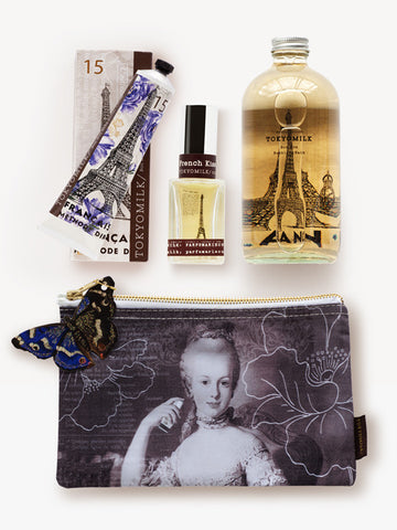 French Kiss Classic Collection Gift Set with Bubble Bath, Cosmetic Bag, Hand Cream, and Perfume