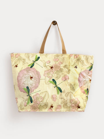 Rose with Bees & Dragonflies Large Tote