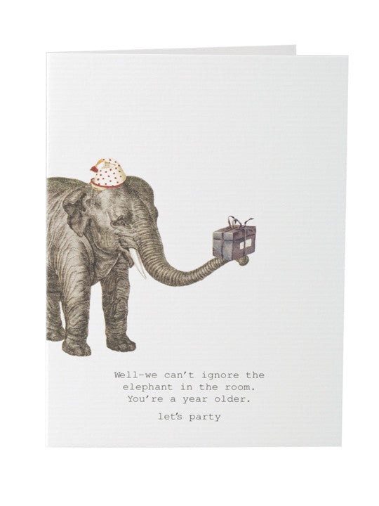 Elephant In The Room Greeting Card On Blank Stationery