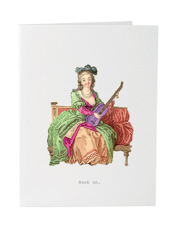 Rock On Greeting Card on Blank Stationery
