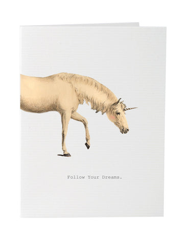 Greeting card encouraging to follow your dreams on blank stationery
