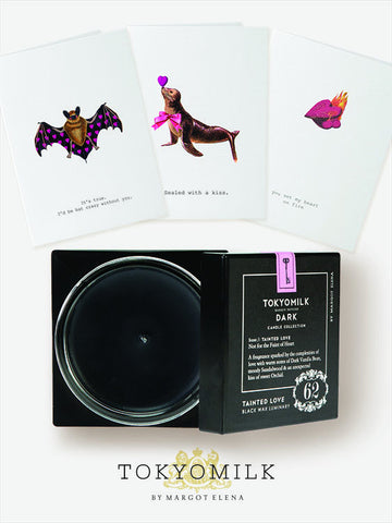 Black Tainted Love Candle and Valentine's Day Cards Trio