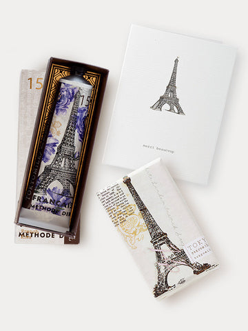 Parisian Gift Trio: Tour Eiffel Soap,  Merci Beaucoup Card & French Kiss Shea Butter Lotion