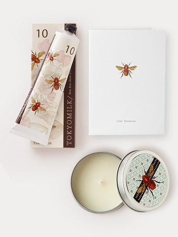 Honey Gift Trio: Just Because Card, Honey & the Moon Lotion & Scented Candle