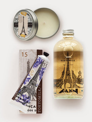 French Kiss Fragrance Bundle featuring Shea Butter Lotion, Travel Candle, and Bubble Bath