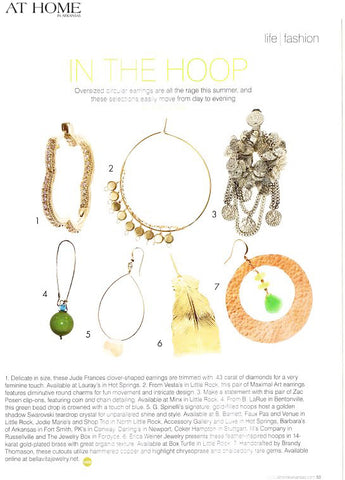 Cutout hammered copper hoop earrings with chrysoprase and chalcedony gems by Bella Vita Jewelry featured in Life & Fashion of At Home in Arkansas