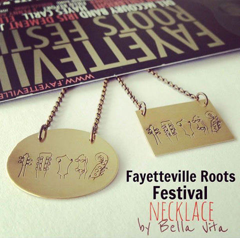 Official merchandise necklace designed by Bella Vita Jewelry for the Fayetteville Roots Festival