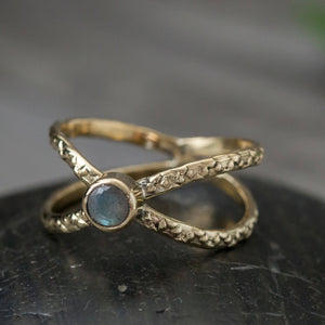 RING | Brass Labradorite Crossbar