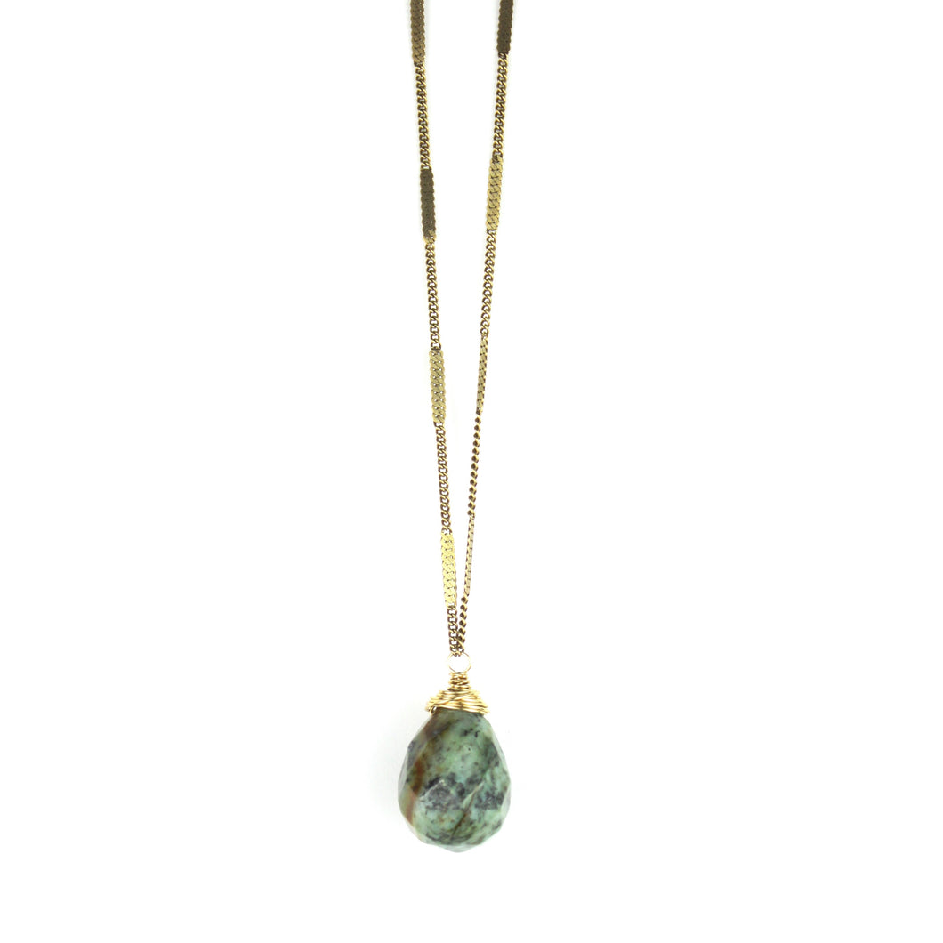 ZARA Drop Necklace | African Turquoise