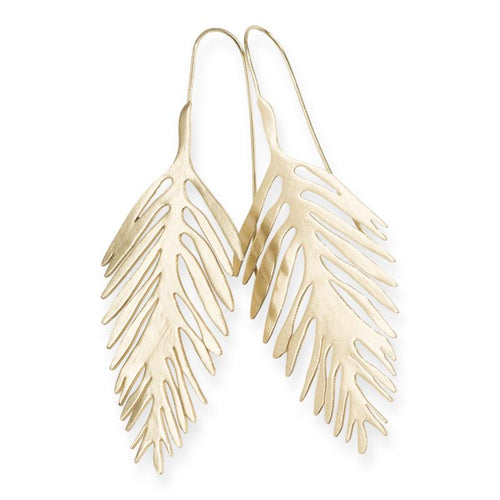 EARRINGS | Brass Palm Leaf