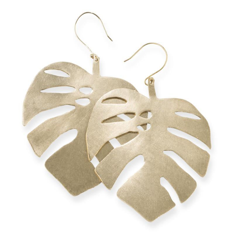 EARRINGS | Brass Monstera Leaf