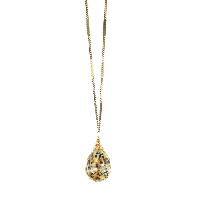 ZARA Drop Necklace | Dalmatian Jasper