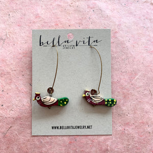 CHARM EARRINGS | Wood Pheasant