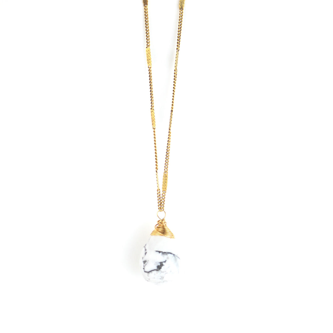 ZARA Drop Necklace | White Howlite