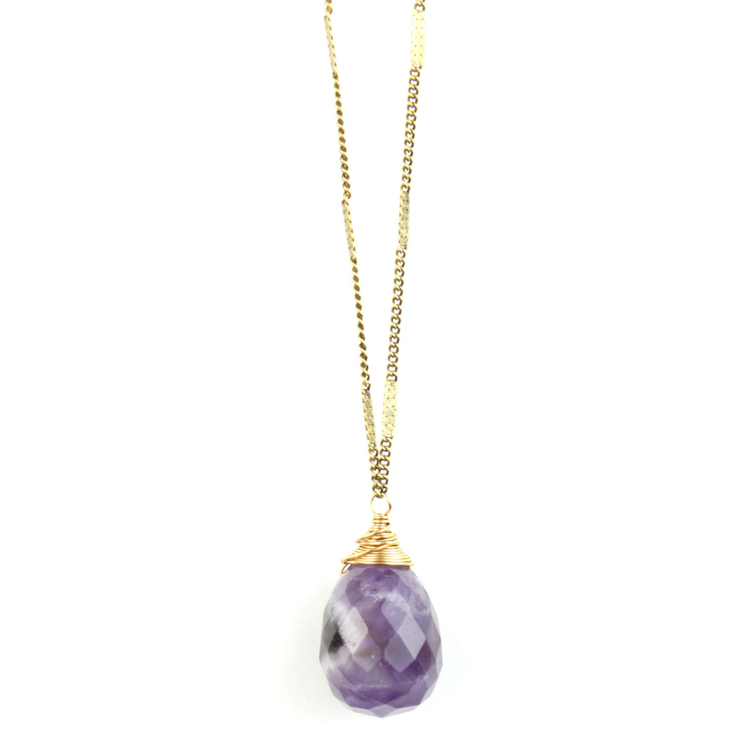 ZARA Drop Necklace | Dog Tooth Amethyst