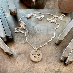 MANTRA Necklace | Handstamped Round Antique Pewter Charm