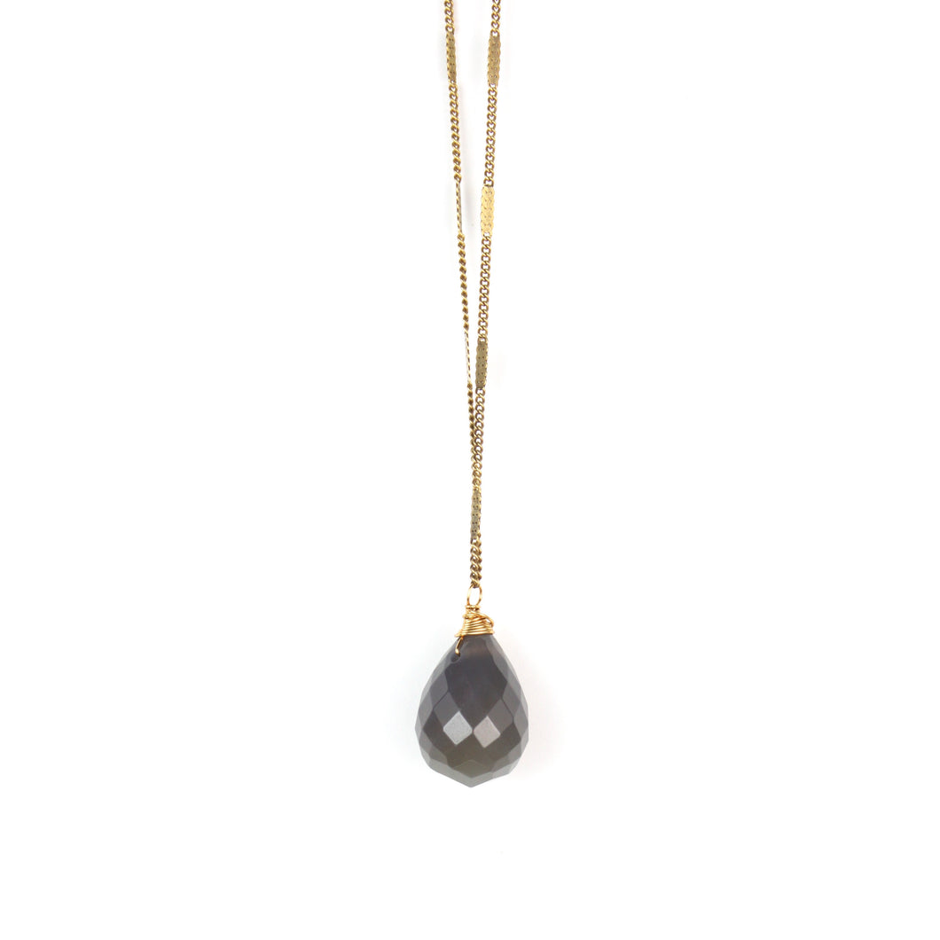 ZARA Drop Necklace | Grey Agate