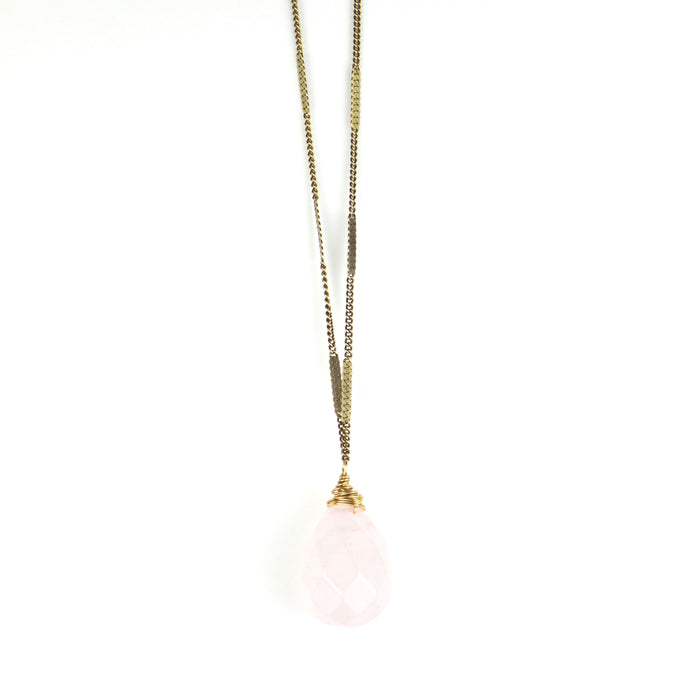 ZARA Drop Necklace | Rose Quartz