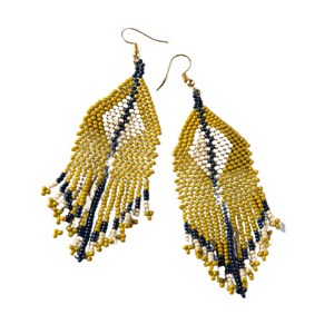 EARRINGS | Citron Navy Ivory Diamond with Stripe
