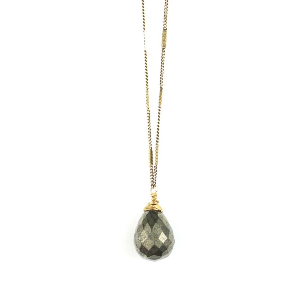 ZARA Drop Necklace | Pyrite