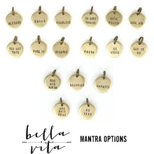 MANTRA Necklace | Handstamped Round Plated Metal