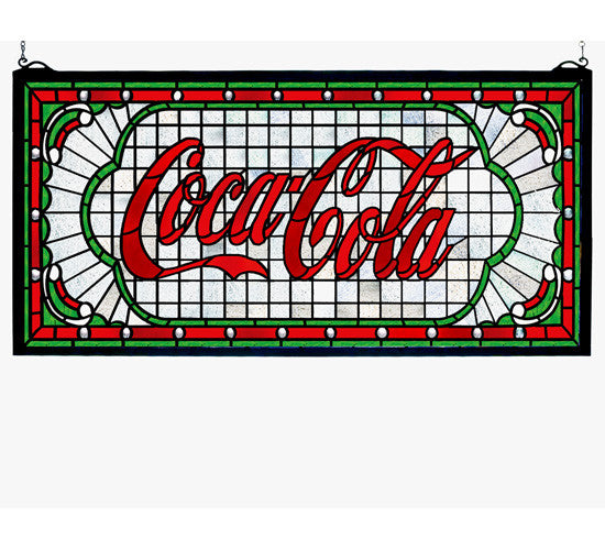 "25""W X 12""H Coca-Cola Victorian Web Stained Glass Window"