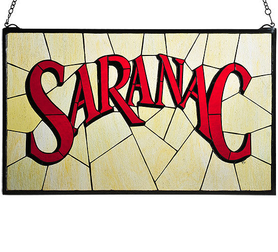 "28""W X 17""H Saranac Stained Glass Window"