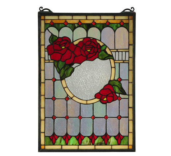 "14""W X 20""H Morgan Rose Stained Glass Window"