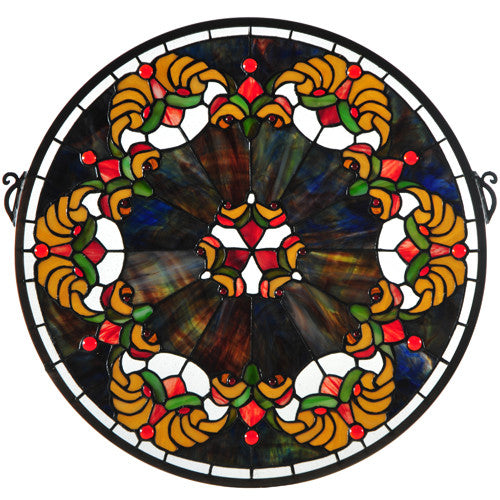 "19""W X 18""H Middleton Medallion Stained Glass Window"