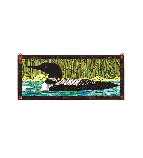 "40""W X 17""H Loon Stained Glass Window"