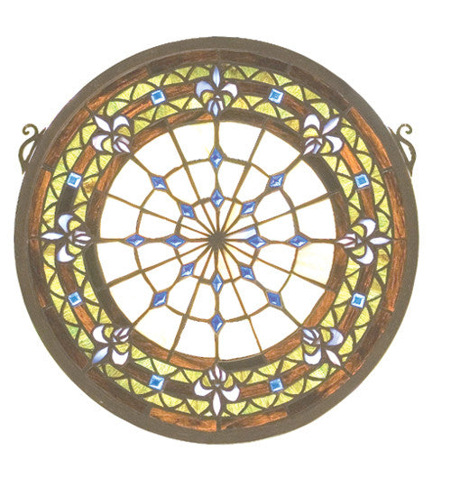 "13""W X 13""H Fleur-De-Lis Medallion Stained Glass Window"