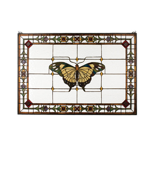 "41""W X 28""H Victorian Butterfly Stained Glass Window"
