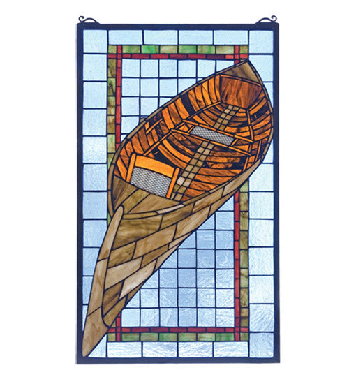 "15""W X 25""H Guideboat Stained Glass Window"