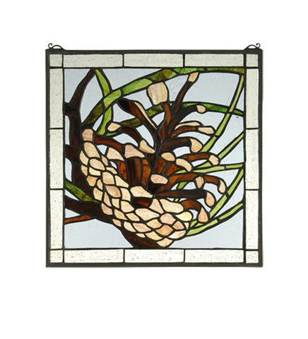 "12""W X 12""H Square Pinecone Stained Glass Window"